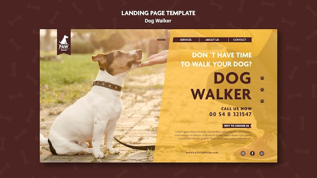 Dog walker landing page design Kostenlosen PSD