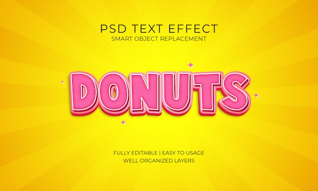 Donuts text effekt Premium PSD