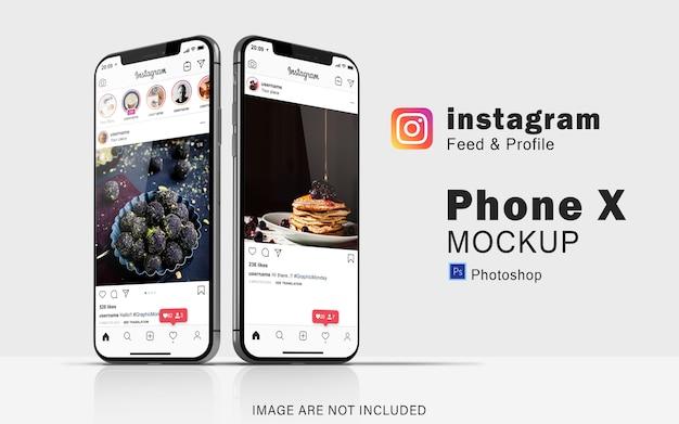 Doppeltelefon des social-media-modells auf dem smartphone Premium PSD