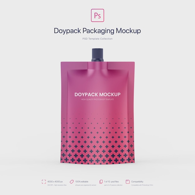 Doypack-verpackung mit top spout mockup Kostenlosen PSD