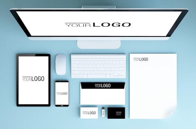 Draufsicht branding-elemente modell Premium PSD