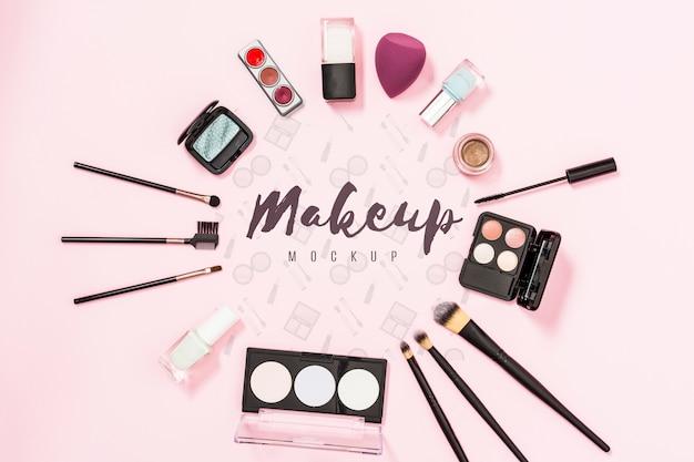 Draufsicht des make-up-modellkonzepts Kostenlosen PSD