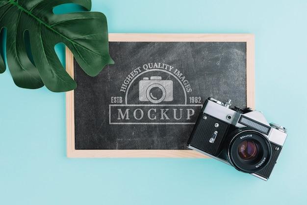 Draufsicht-fotokamera mit tafel Kostenlosen PSD