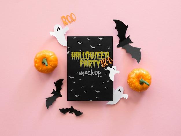 Draufsicht halloween-modell mit papierfledermäusen Kostenlosen PSD