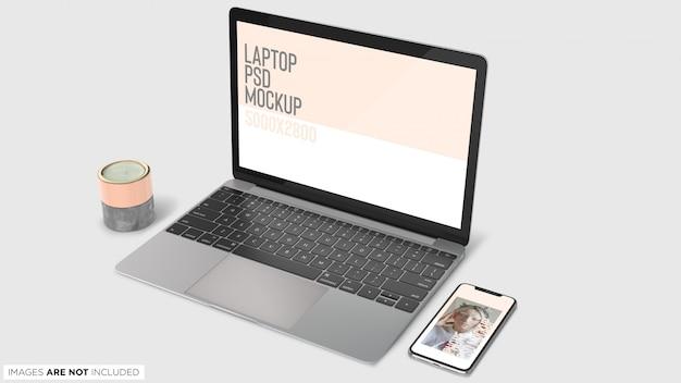 Draufsicht macbook pro und iphone x mit dekoration führt psd-modell einzeln auf Premium PSD