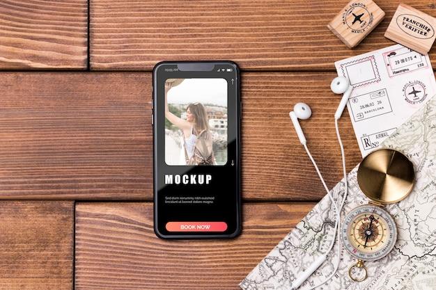 Draufsicht-reisemodell, das musik hört Kostenlosen PSD