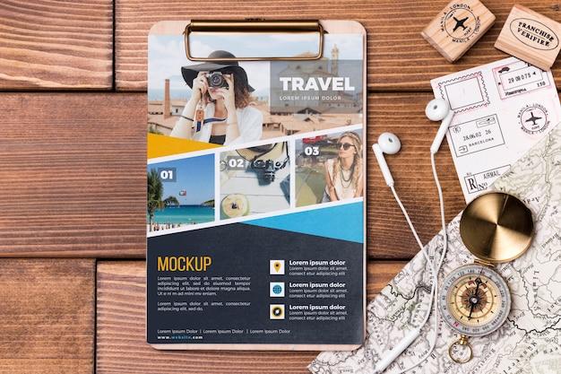 Draufsicht reisemodell und zwischenablage Kostenlosen PSD