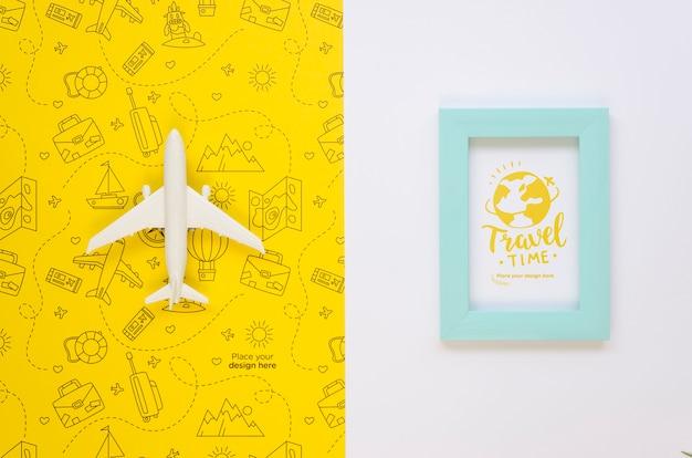 Draufsichtreiseflugzeug und urlaubsrahmen Kostenlosen PSD