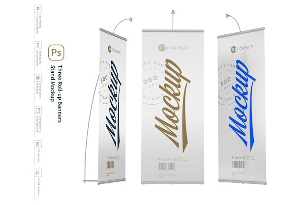 Drei roll-up-banner stehen mockup Premium PSD