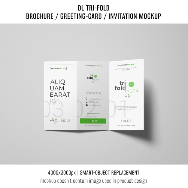 Dreifach gefaltete broschüre oder einladungsmodell Kostenlosen PSD