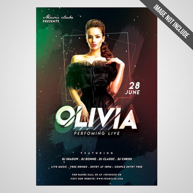 Druckfertig cmyk artist event flyer / poster mit editierbaren objekten Premium PSD