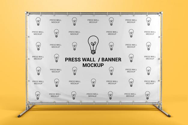 Drücken sie auf das vorderansicht-modell des wandbanners Premium PSD