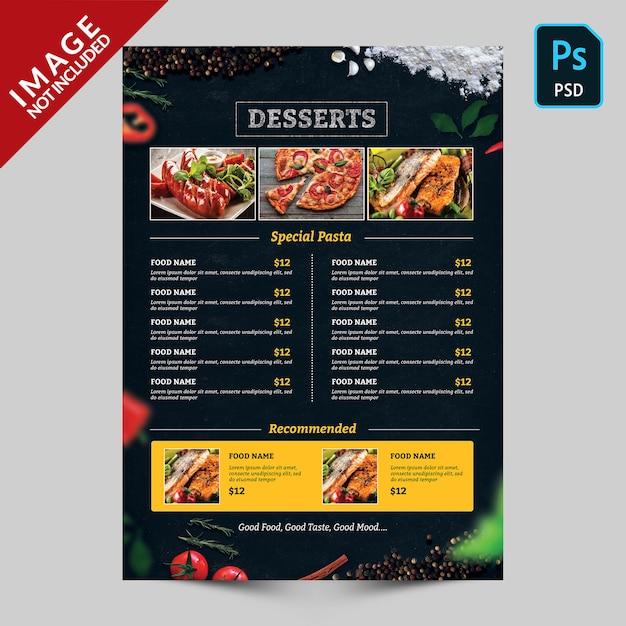 Dunkles nahrungsmittelmenü mit nahrungsmittelbildern Premium PSD