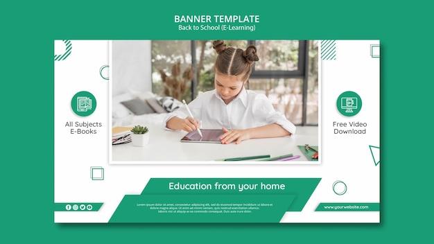 E-learning-banner-vorlage mit foto Kostenlosen PSD