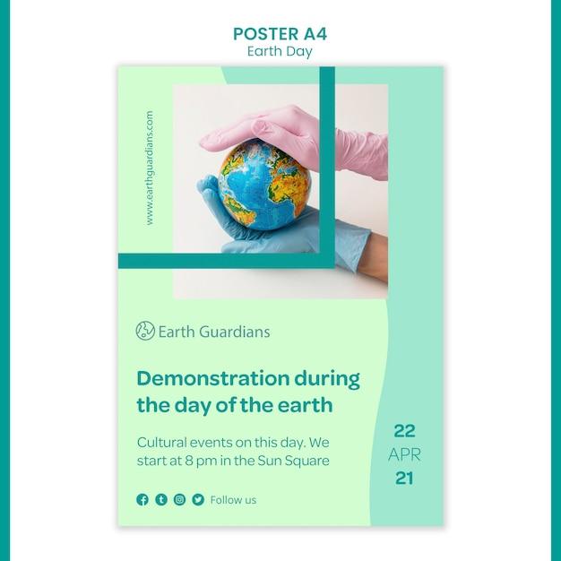 Earth day konzept poster vorlage Kostenlosen PSD