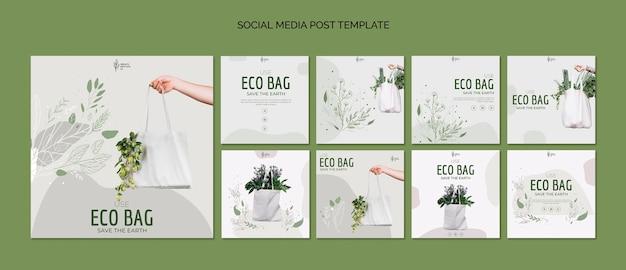 Eco bag recycling für umwelt social media post vorlage Kostenlosen PSD