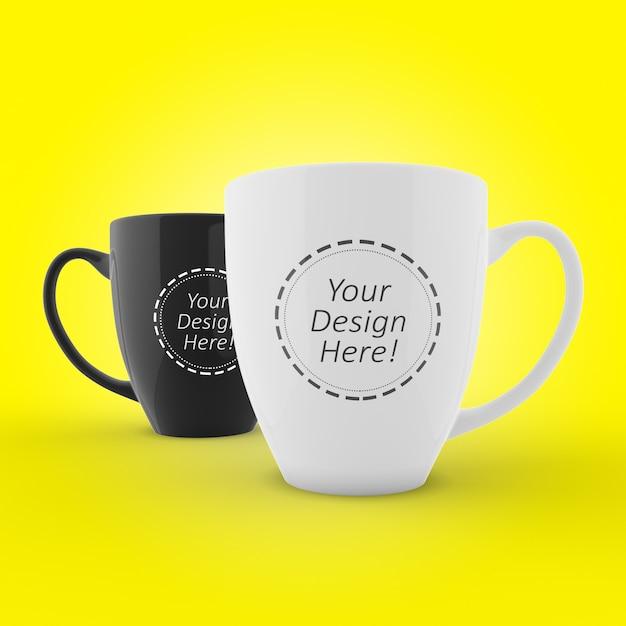 Editierbare mock-up-design für branding von zwei cafe tassen Premium PSD