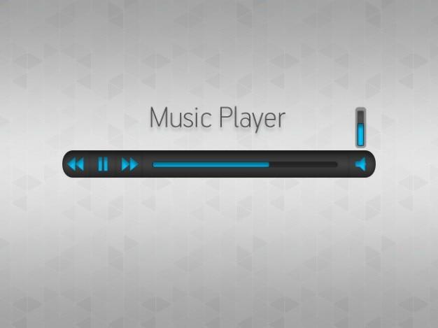 Einfache musik-player mit blauen tasten Kostenlosen PSD