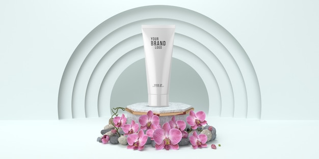 Einfaches kosmetisches schablonenstudio mit weißer farbe 3d des podiums übertragen Premium PSD