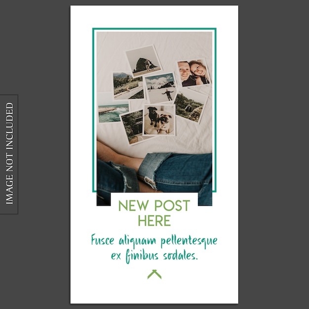 Einfaches, kreatives, modernes fotomodell und instagram-geschichten-schablone für social media-profil Premium PSD