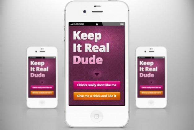 Einfaches mobiles design mit farbigen tasten Kostenlosen PSD