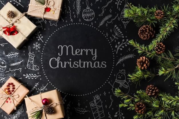 Eingewickelte geschenke für weihnachtsabend auf tabelle Kostenlosen PSD