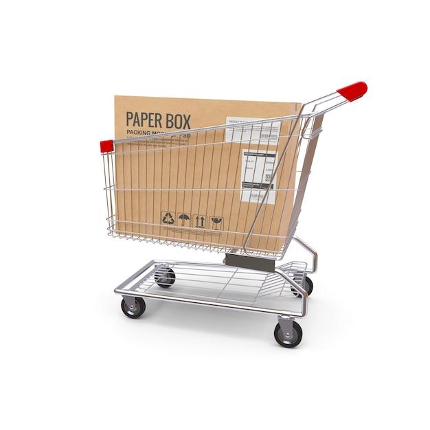 Einkaufswagen mit box Premium PSD