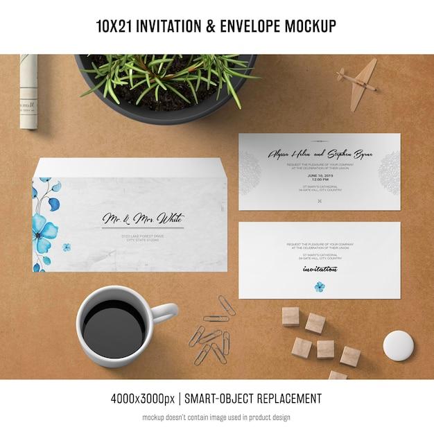 Einladung und umschlagmodell Kostenlosen PSD