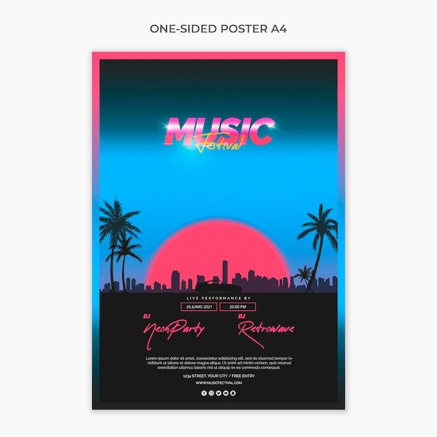 Einseitige a4-plakatvorlage für das musikfestival der 80er jahre Kostenlosen PSD