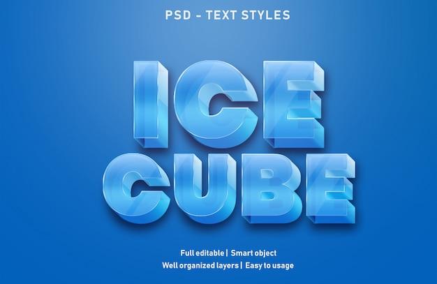 Eiswürfel texteffekte stil bearbeitbare psd Premium PSD