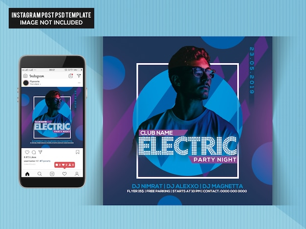 Electric party night flyer Premium PSD