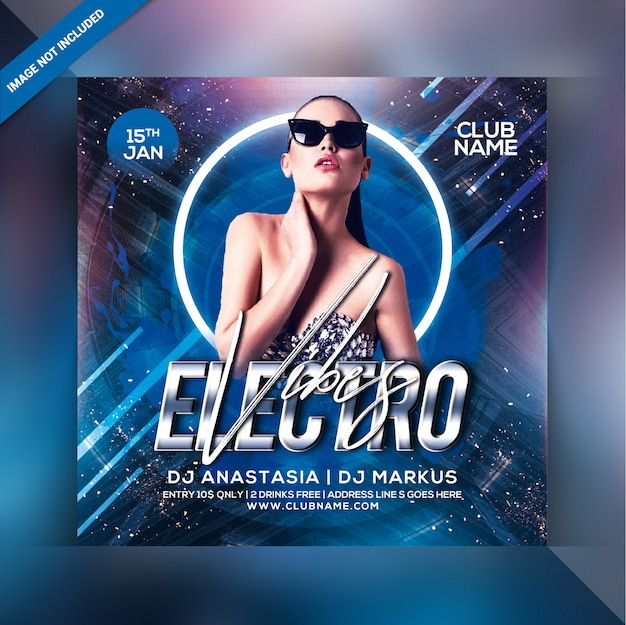 Electro vibes party flyer Premium PSD