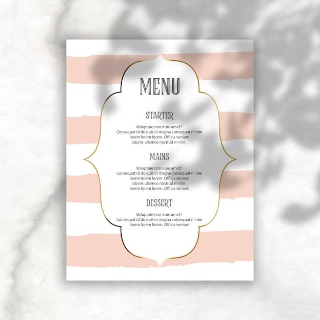Elegant editierbares menü mit schattenüberlagerung Kostenlosen PSD