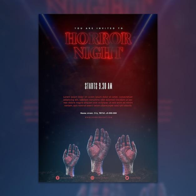 Elegante dunkle halloween party poster vorlage Kostenlosen PSD