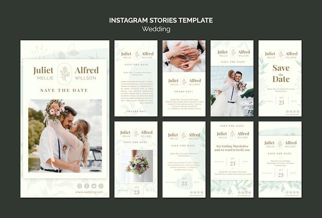 Elegante instagram-post-sammlung für hochzeit Kostenlosen PSD
