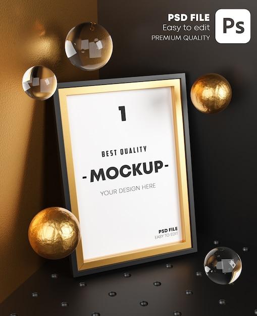 Elegante mock up poster goldrahmen vorlage auf eckzimmer. Premium PSD