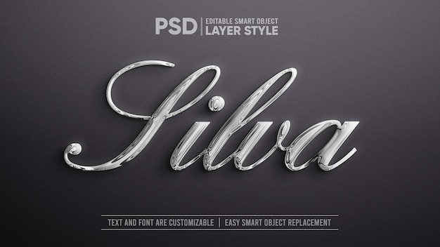 Eleganter flüssiger silbermetallic smart object layer-effekt Premium PSD