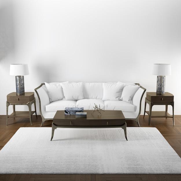 Elegantes innenarchitekturmodell des wohnzimmers mit holzmöbeln Kostenlosen PSD