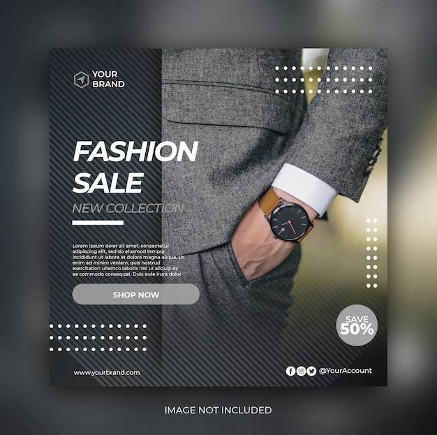 Elegantes modeverkaufsbanner oder quadratischer flyer für social-media-post-vorlage Premium PSD