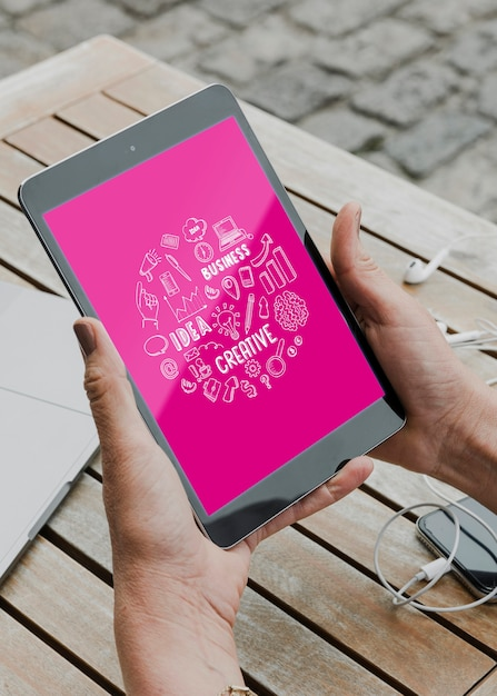 Elektronisches tablet-modell für die arbeit Kostenlosen PSD
