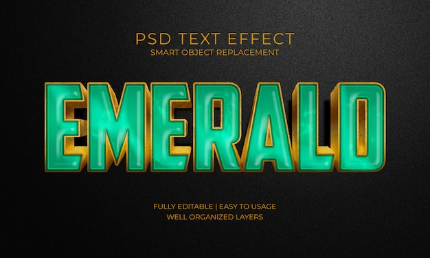 Emerald green stone text effekt Premium PSD