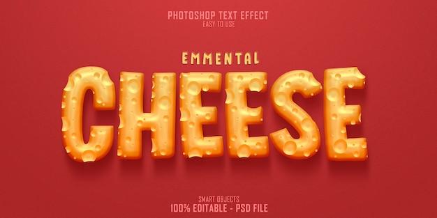 Emmentaler käse 3d-textstil-effektschablone Premium PSD
