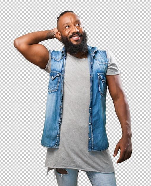 Entspannter schwarzer mann auf weiß Premium PSD