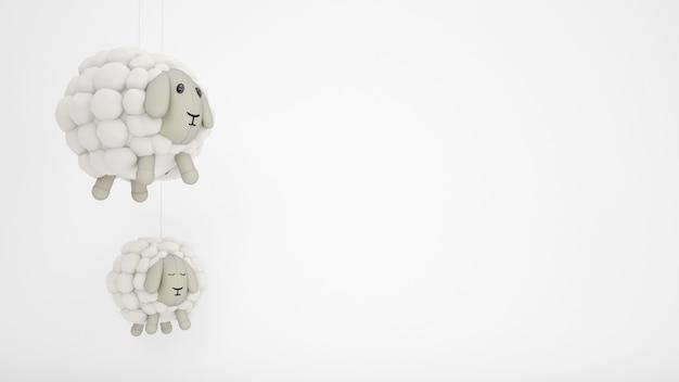 Entzückende kinderspielzeug-wollschafe mit weißem copyspace Kostenlosen PSD