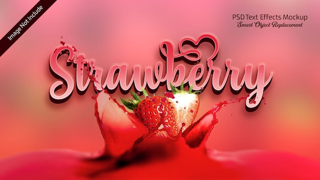 Erdbeer-3d-text-effekt Premium PSD