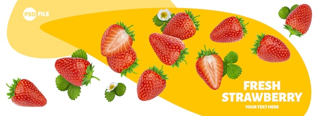 Erdbeere getrennt auf weißer fahne Premium PSD