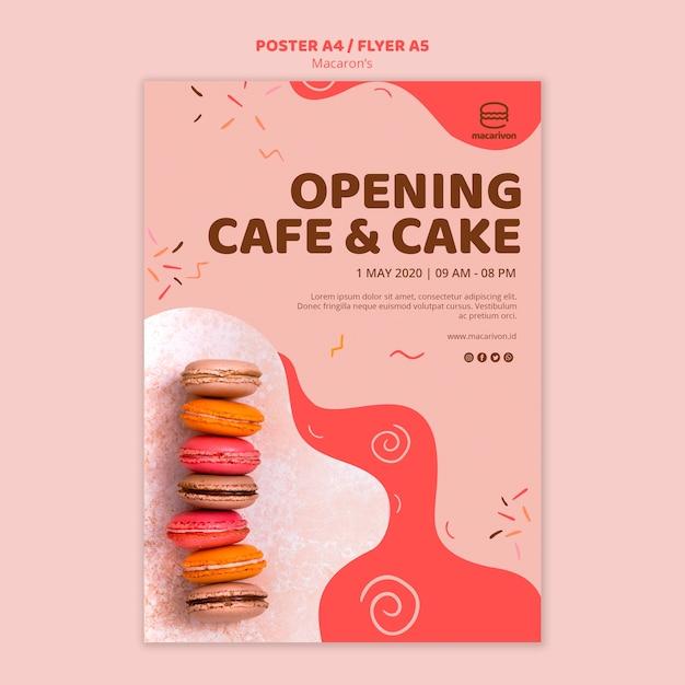 Eröffnungscafé und kuchenplakat Kostenlosen PSD
