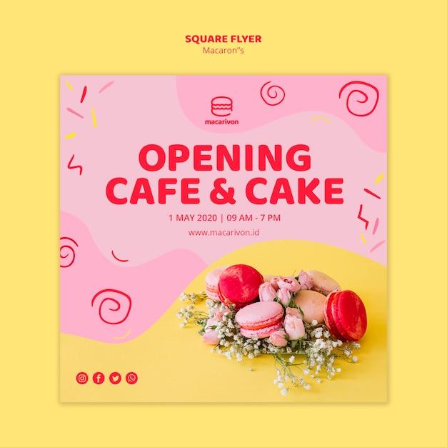 Eröffnungscafé und kuchenquadrat-flyer Kostenlosen PSD