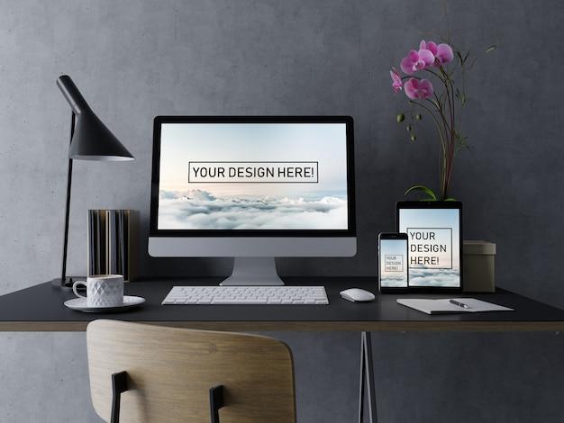 Erstklassige entwurfsvorlage für desktop-, tablet- und smartphone-modelle mit bearbeitbarem bildschirm im modernen schwarzen innenraum Premium PSD