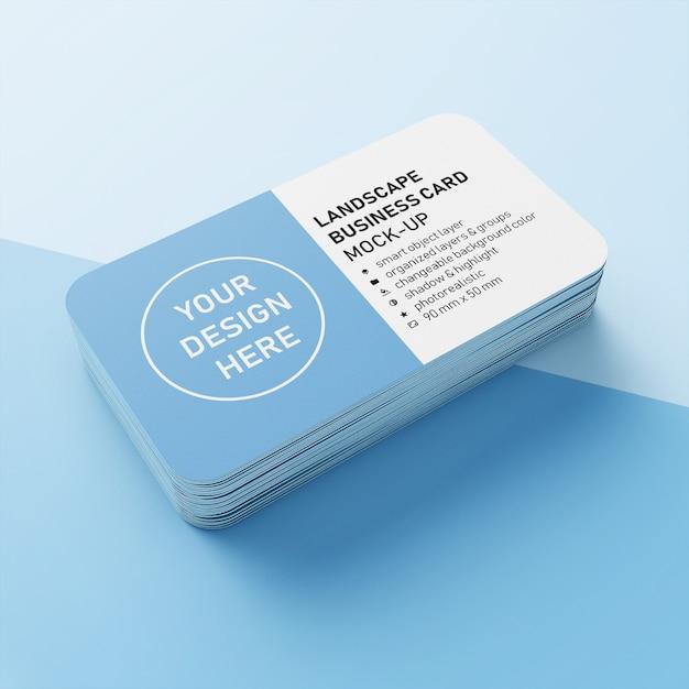 Erstklassiger realistischer stapel horizontale visitenkarte 90x50 millimeter mit modell-design-schablone der abgerundeten ecke in der perspektivenansicht Premium PSD